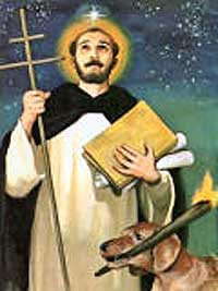 saint dominic guzman with dog and star